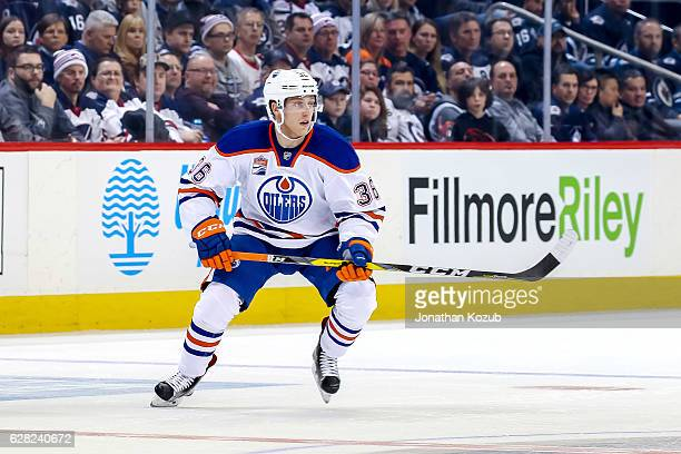 Drake Caggiula of the Edmonton Oilers follows the play during third period action against the Winnipeg Jets at the MTS Centre on December 1 2016 in...