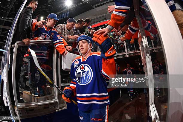 Drake Caggiula of the Edmonton Oilers goes on the ice for the game against the Nashville Predators on January 20 2017 at Rogers Place in Edmonton...