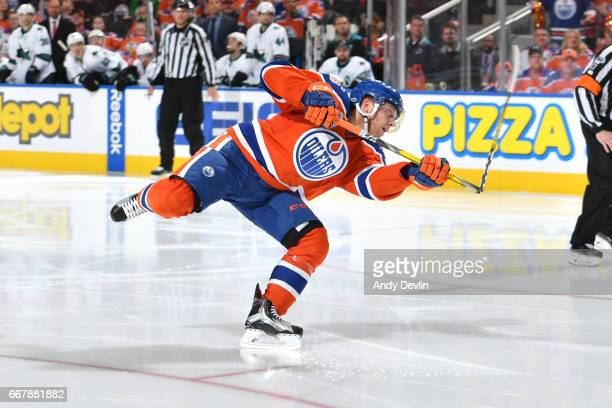 Drake Caggiula of the Edmonton Oilers shoots in Game One of the Western Conference First Round during the 2017 NHL Stanley Cup Playoffs against the...