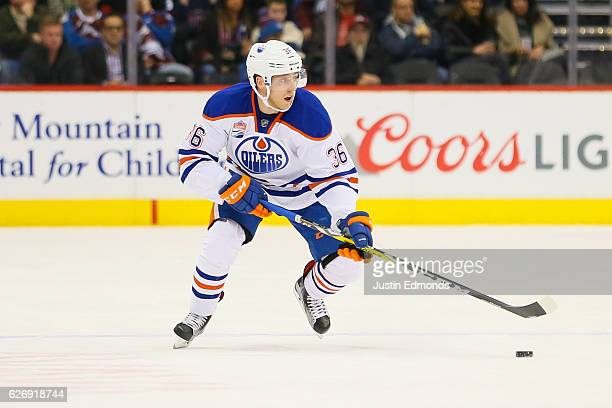 Drake Caggiula of the Edmonton Oilers skates against the Colorado Avalanche at Pepsi Center on November 23 2016 in Denver Colorado The Oilers...