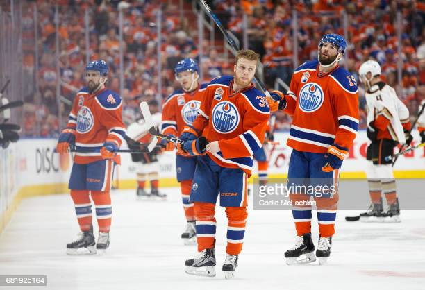 Drake Caggiula of the Edmonton Oilers skates back to the bench without a helmet while playing against the Anaheim Ducks in Game Six of the Western...