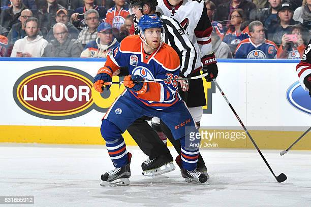 Drake Caggiula of the Edmonton Oilers skates during the game against the Arizona Coytoes on January 16 2017 at Rogers Place in Edmonton Alberta Canada