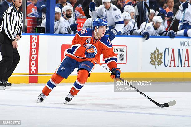 Drake Caggiula of the Edmonton Oilers skates during the game against the Tampa Bay Lightning on December 17 2016 at Rogers Place in Edmonton Alberta...