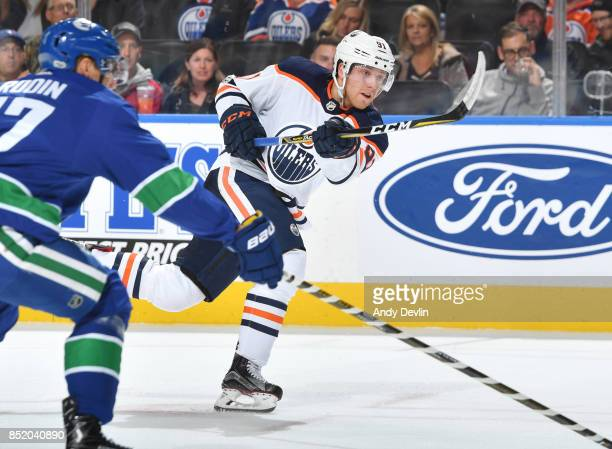 Drake Caggiula of the Edmonton Oilers skates during the preseason game against the Vancouver Canucks on September 22 2017 at Rogers Place in Edmonton...