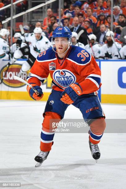 Drake Caggiula of the Edmonton Oilers skates in Game Five of the Western Conference First Round during the 2017 NHL Stanley Cup Playoffs against the...