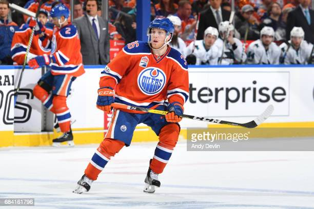 Drake Caggiula of the Edmonton Oilers skates in Game Two of the Western Conference First Round during the 2017 NHL Stanley Cup Playoffs against the...
