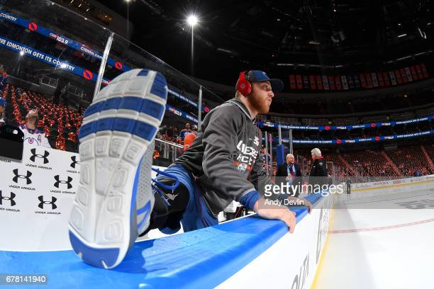 Drake Caggiula of the Edmonton Oilers warms up prior to Game Four of the Western Conference Second Round during the 2017 NHL Stanley Cup Playoffs...