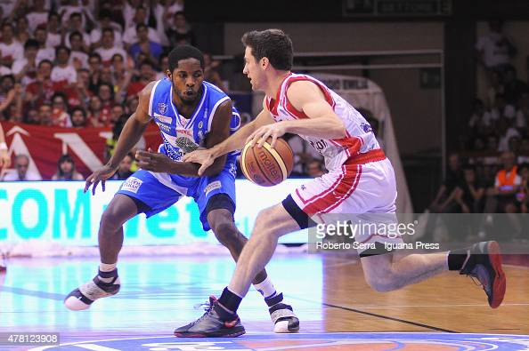 Drake Diener of Grissin Bon competes with Jerome Dyson of Banco di Sardegna during the match between Grissin Bon Reggio Emilia and Banco di Sardegna...