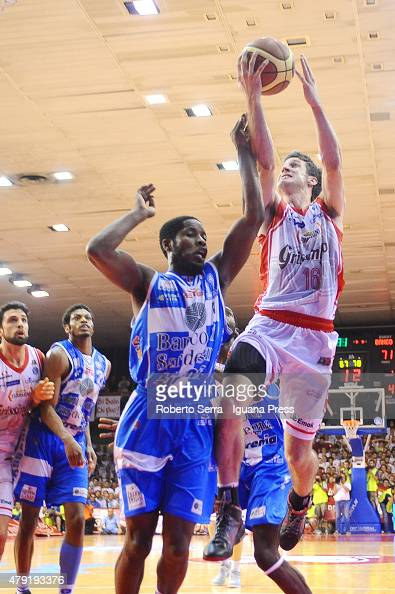 Drake Diener of Grissin Bon competes with Jerome Dyson of Banco di Sardegna during the match of LegaBasket Serie A game 7 of playoff's final series...