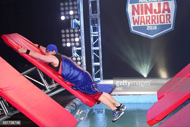 LIVE 'Drake' Episode 1703 Pictured Bobby Moynihan as Jeff Metcalf during the 'American Ninja Warrior' sketch on May 14 2016