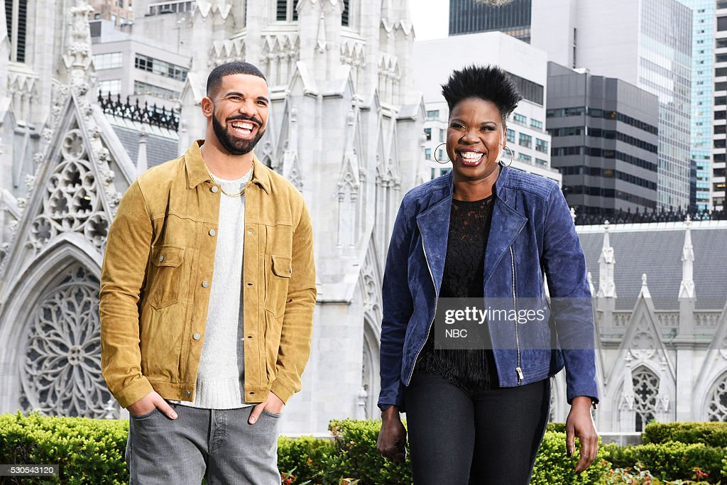 LIVE -- '<a gi-track='captionPersonalityLinkClicked' href=/galleries/search?phrase=Drake+-+Entertainer&family=editorial&specificpeople=6927008 ng-click='$event.stopPropagation()'>Drake</a>' Episode 1703 -- Pictured: (l-r) <a gi-track='captionPersonalityLinkClicked' href=/galleries/search?phrase=Leslie+Jones+-+Comedian&family=editorial&specificpeople=13705005 ng-click='$event.stopPropagation()'>Leslie Jones</a> and host <a gi-track='captionPersonalityLinkClicked' href=/galleries/search?phrase=Drake+-+Entertainer&family=editorial&specificpeople=6927008 ng-click='$event.stopPropagation()'>Drake</a> on May 10, 2016 --