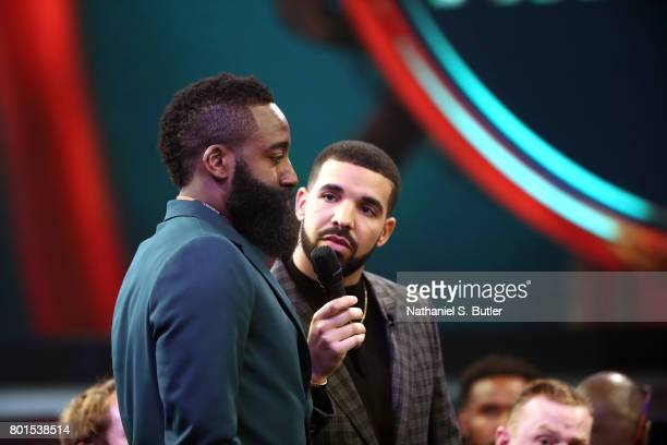 Drake interviews James Harden of the Houston Rockets at the NBA Awards Show on June 26 2017 at Basketball City at Pier 36 in New York City New York...