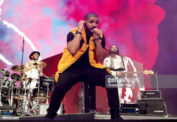 Drake performs on the Coachella stage during day 2 of the Coachella Valley Music And Arts Festival at the Empire Polo Club on April 15 2017 in Indio...