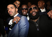 Drake Sean 'Diddy' Combs' and Rick Ross attend Sean Diddy Combs Ciroc The New Years Eve Party at his home on December 31 2013 in Miami Beach Florida