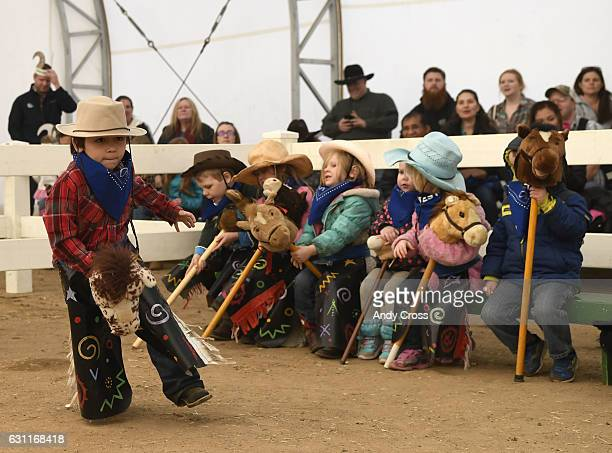 Drake Sorensen struts his stuff during the Stick Horse Rodeo in the Activity Pavilion at the National Western Stock Show January 07 2017