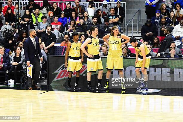 Drake Stephan James Drew Scott Win Butler and Johnathan Scott during the NBA AllStar Celebrity Game Presented by Mountain Dew as part of 2016 AllStar...