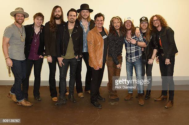 Drake White A Thousand Horses' Bill Satcher Graham DeLoach Zach Brown and Michael Hobby Big Machine Label Group President and CEO Scott Borchetta...