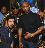 Drake Young Jeezy and Alex Gidewon attend Young Jeezy's Mixtape Release party at Vanquish Lounge on December 13 2012 in Atlanta Georgia