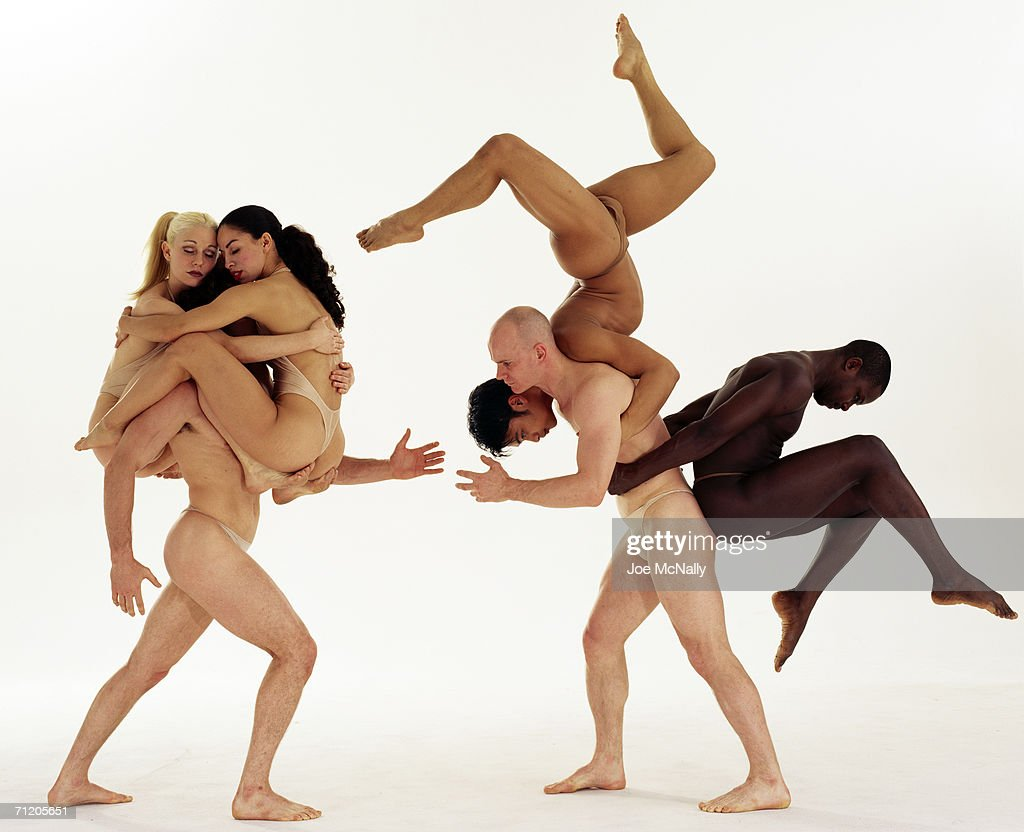 Drama and athletics entwine when members of the Pilobolus dance troupe link bodies to create images like a scorpion, right, and a crowned warrior on March 01, 2000 in New York City.