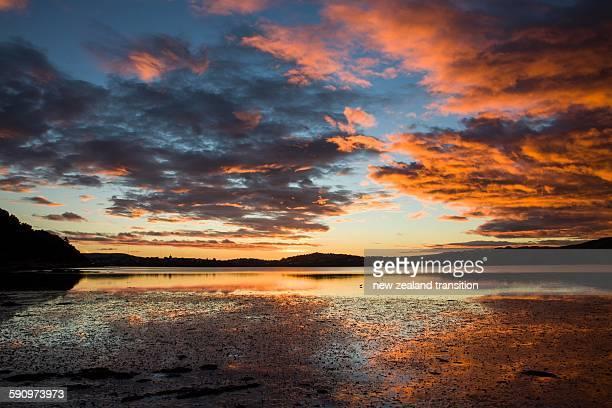 Dramastic pink sunset over Pauatahanui Inlet