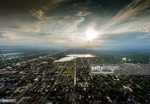 Dramatic aerial of Denver at sunset
