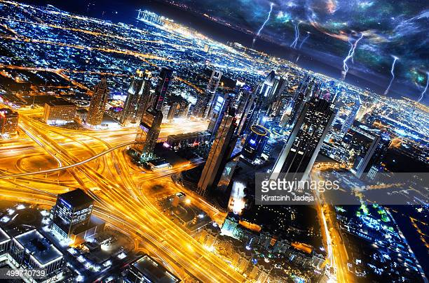 Dramatic Aerial View Of Dubai With Sci-Fi Tones