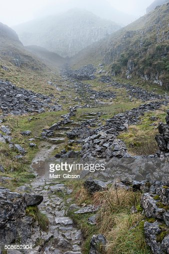 Dramatic Autumn Fall landscape of rocky hills in Yorkshire Dales : Stock Photo
