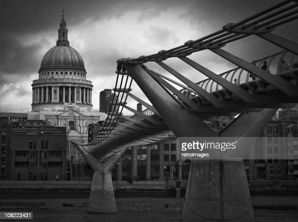 Dramatic black and white image of St Paul's Cathedral, London