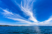 Dramatic cirrus clouds over sea