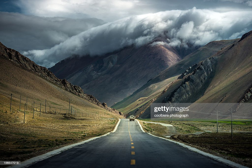 Dramatic cloud over mountain in TIbet : Stock Photo