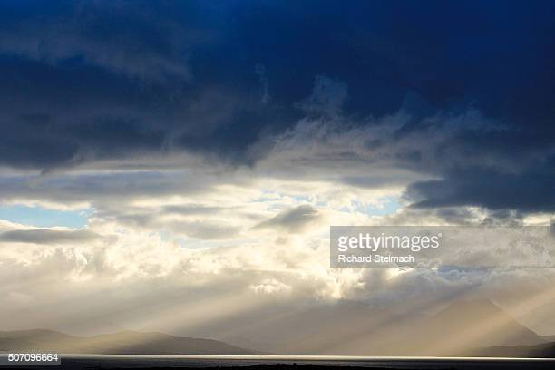 Dramatic clouds and sunshine over Skye, taken from Applecross, Wester Ross