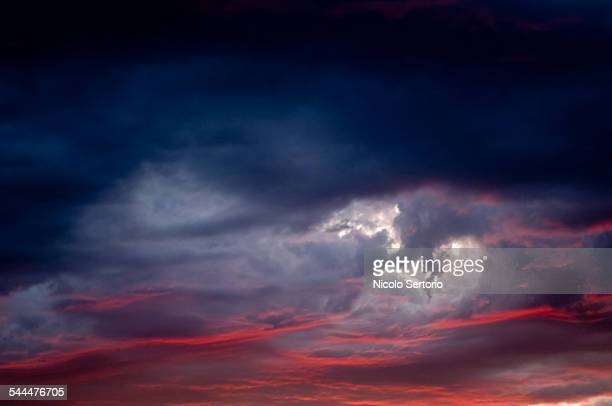 Dramatic clouds at sunset