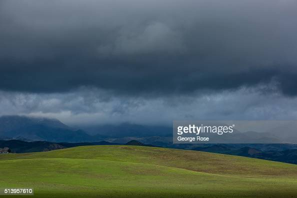 Dramatic clouds but not much rain as viewed along the scenic Armour Ranch Road in Happy Canyon on February 1 in Santa Ynez California Though much of...