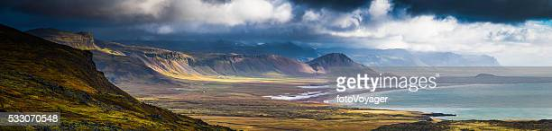 Dramatic coastal landscape epic remote Arctic Ocean mountains panorama Iceland