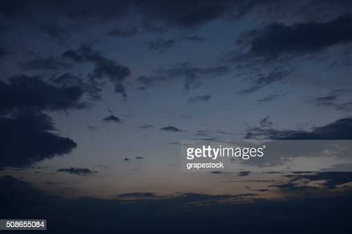 Dramatic dark sky before the storm at dusk : Stock Photo