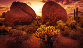 Dramatic desert scenery near Scottsdale red rock sunset