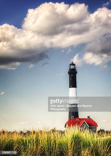 Dramatic Fire Island Lighthouse Under Puffy Cloud
