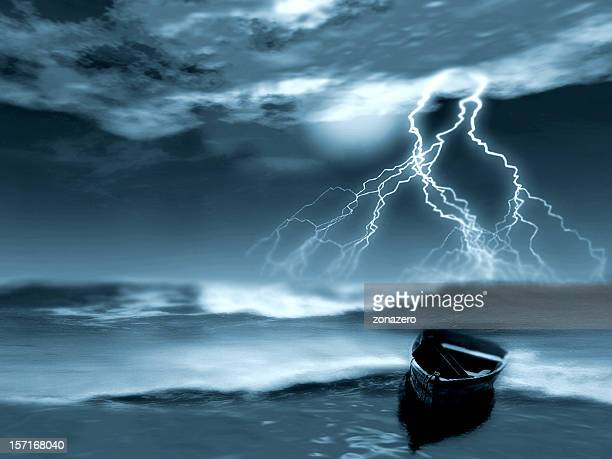 Dramatic image of a storm in the sea at night