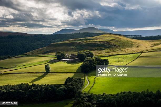 Dramatic light on Peak District hillside