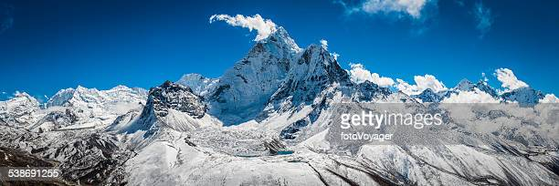 Dramatic mountain peaks snowy summits panorama Ama Dablam Himalayas Nepal