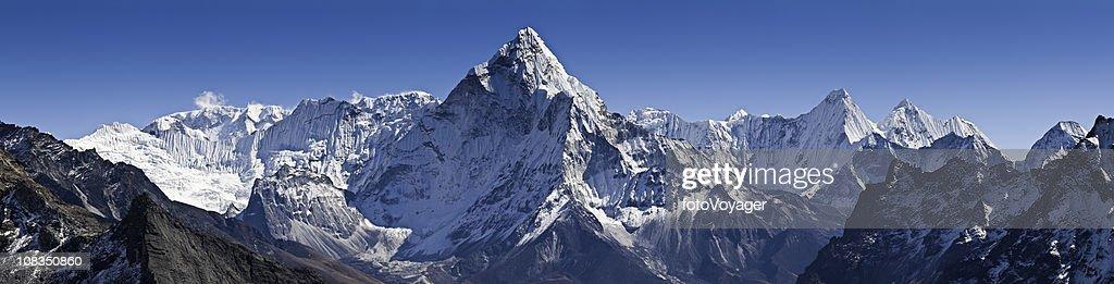 Dramatic peaks pinnacles snowy summits high altitude mountain panorama Himalayas : Stock Photo