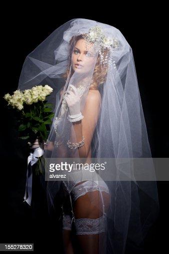 Dramatic portrait of a bride