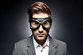 Dramatic Portrait of a Man with Goggles