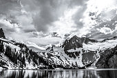 Dramatic Rocky Mountains Landscape Black and White. this rugged jagged Mountain landscape is set outside of Snowmass and Aspen , Colorado . in The Elk range of the Rocky Mountains these mountains , ha