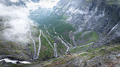 Famous Norwegian street through the clouds.