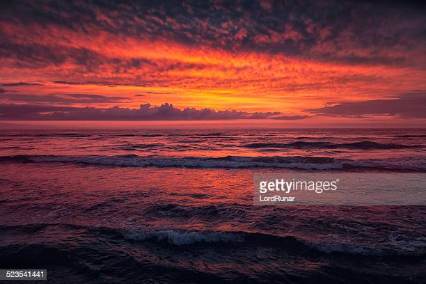Dramatic sea and sky at sunset