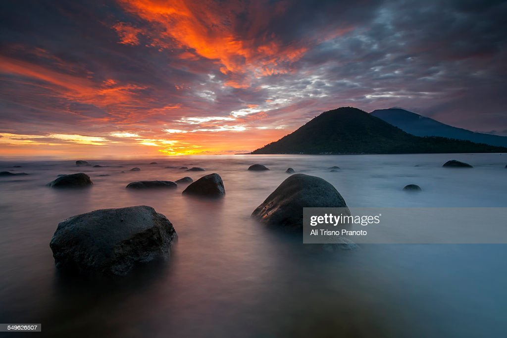 Dramatic sky and sunset in Tidore North Maluku : Stock Photo