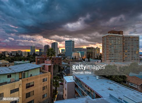 Dramatic sky over Oakland at sunset