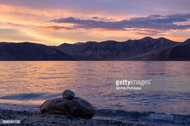 Dramatic Sky Over Pangong lake During Sunset in Ladakh, Jammu and Kashmir State, India