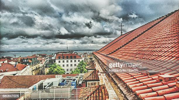 Dramatic Sky Over Small Town Houses By River